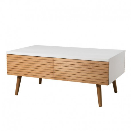 Table basse 4 tiroirs bois clair blanc scandinave - Univers Salon : Tousmesmeubles