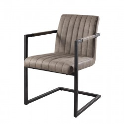 Duo de Fauteuils Simili Cuir Taupe industriel - Univers Salon et Assises : Tousmesmeubles