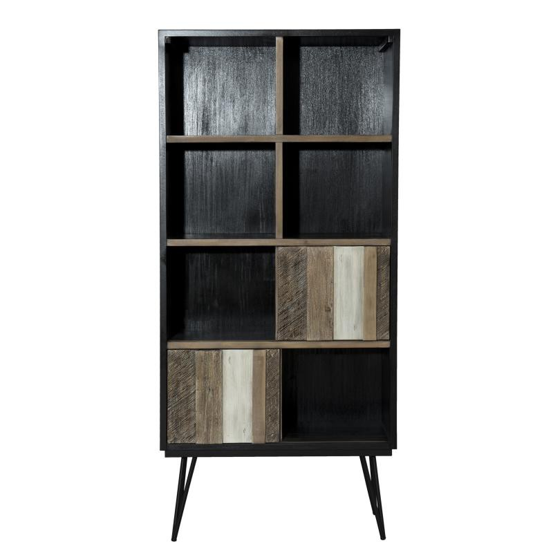biblioth que 2 portes coulissantes 8 niches cally. Black Bedroom Furniture Sets. Home Design Ideas