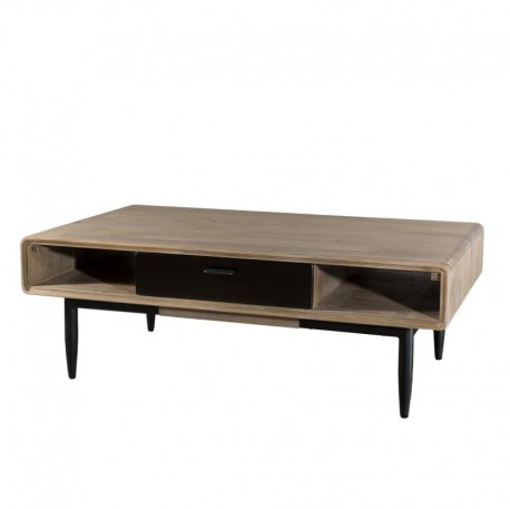 Table basse 2 tiroirs 2 niches industriel bois massif acier - Univers Salon : Tousmesmeubles