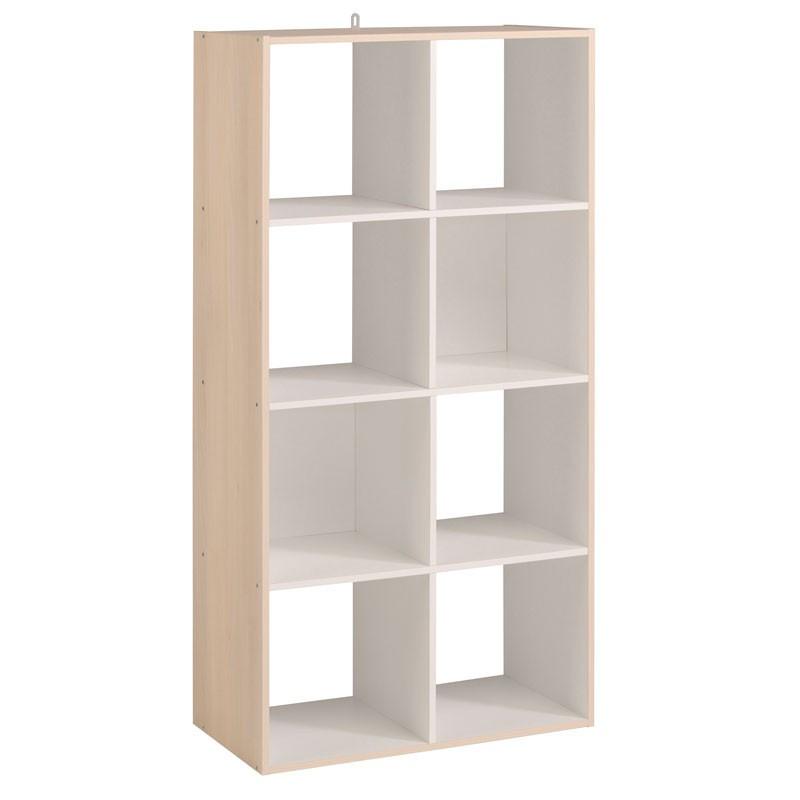 Etagère cube 8 cases Blanc/Acacia - FELIX n°2