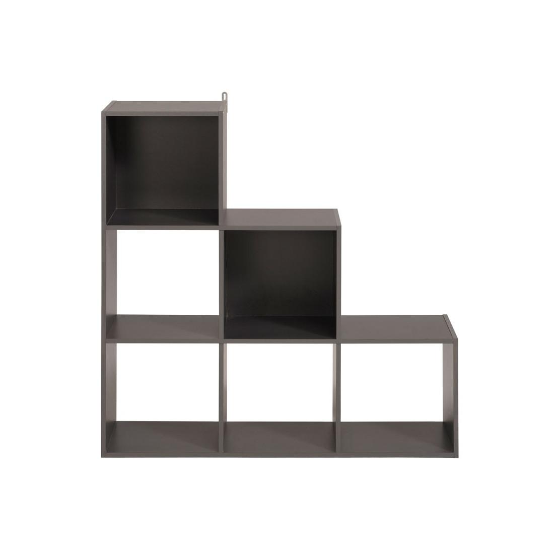 Tag re escalier cube 6 cases gris felix n 4 univers du rangement - Etagere 6 cases ...