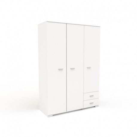 Armoire dressing Blanche 3 portes 2 tiroirs - LILLE