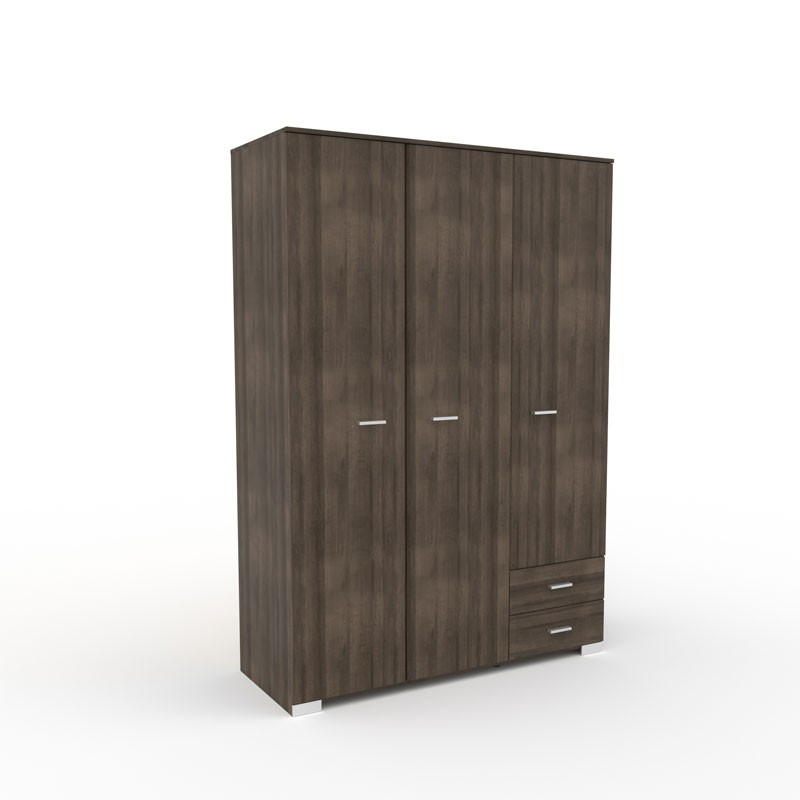 armoire dressing noyer 3 portes 2 tiroirs lille univers. Black Bedroom Furniture Sets. Home Design Ideas