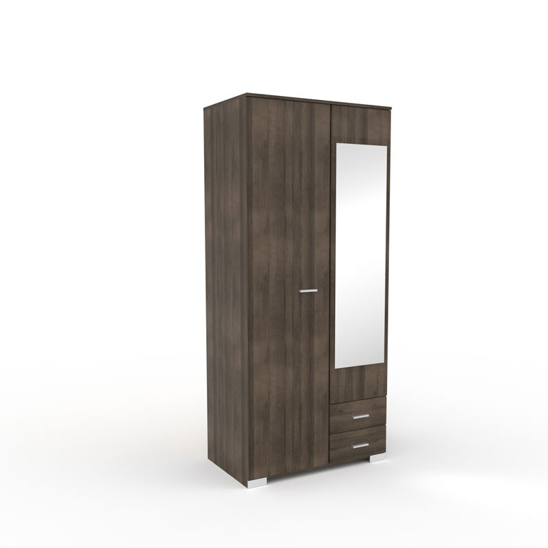 armoire dressing noyer 2 portes 2 tiroirs lille univers. Black Bedroom Furniture Sets. Home Design Ideas