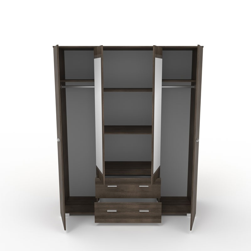 armoire dressing noyer 4 portes 2 tiroirs lille univers. Black Bedroom Furniture Sets. Home Design Ideas