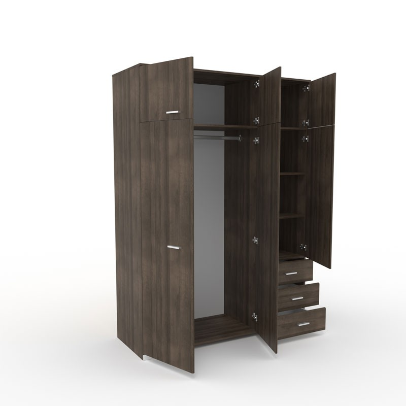 armoire dressing noyer 3 portes 3 tiroirs lille univers de la chambre. Black Bedroom Furniture Sets. Home Design Ideas