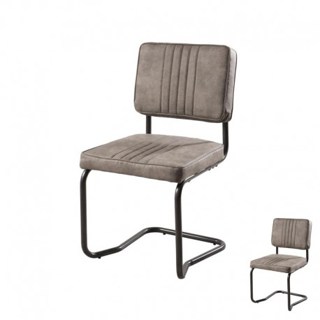 Duo de Chaises Simili Cuir Taupe