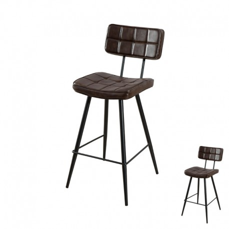 Duo de Chaises de bar Simili Cuir Marron