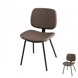 Duo de Chaises Simili Cuir Marron