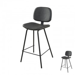 Duo de Chaises de bar Simili Cuir Noir industriel - Univers Salon et Assises : Tousmesmeubles
