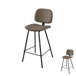 Duo de Chaises Simili Cuir Marron industriel - Univers Salon et Assises : Tousmesmeubles