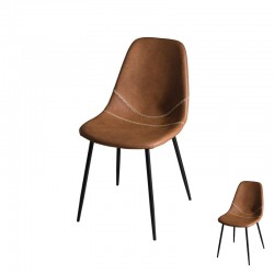 Duo de Chaises Simili Cuir Marron - BUGI