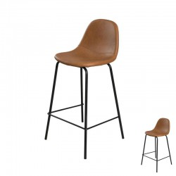 Duo de Chaises de bar Simili Cuir Marron - BUGI