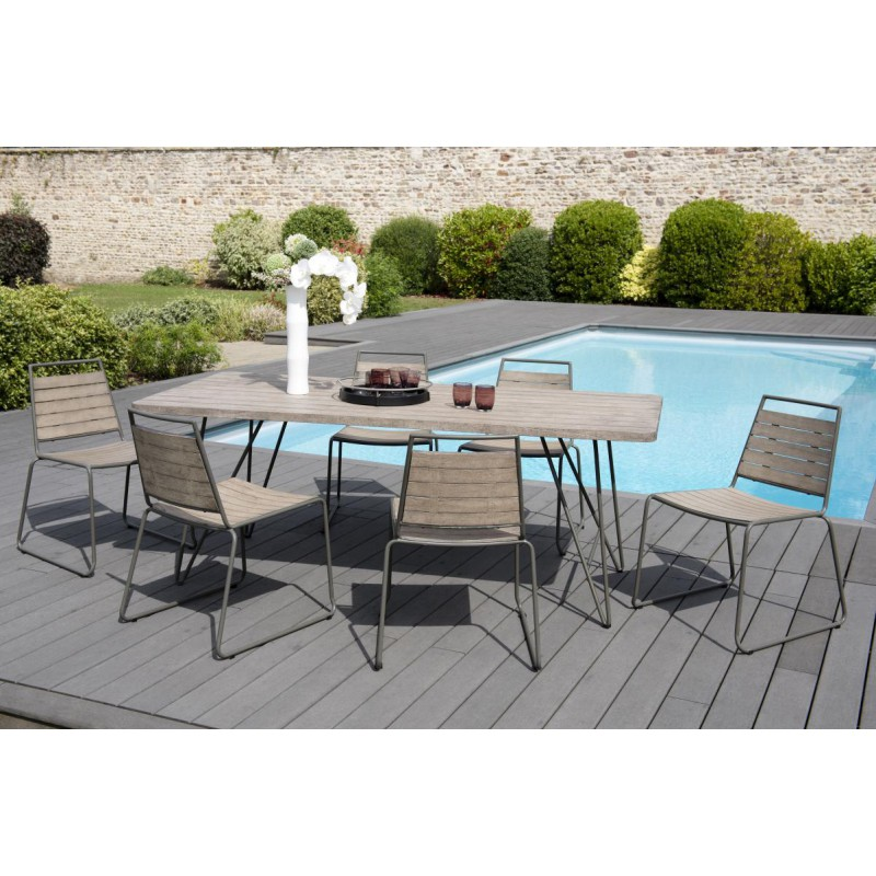 Ensemble table chaises de jardin teck gard n 1 univers for Ensemble meuble de jardin