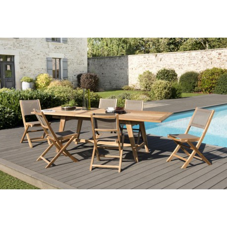 Ensemble Table & Chaises de Jardin Teck ABY n°35 - Univers ...
