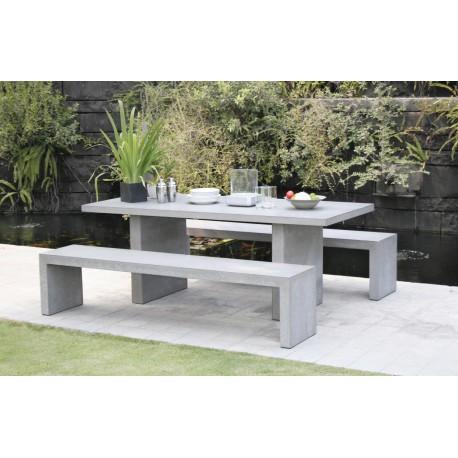 Ensemble table bancs de jardin b ton design carl univers du jardin - Table jardin beton ...