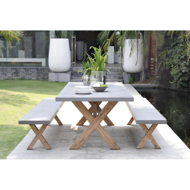 Ensemble table bancs de jardin b ton acacia carl univers du jardin - Table jardin beton ...