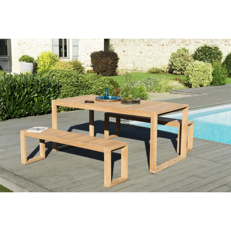 ensemble table bancs de jardin teck eloi n 1 univers. Black Bedroom Furniture Sets. Home Design Ideas