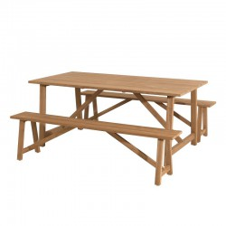 Ensemble Table + Bancs de Jardin Teck - ELOI n°2