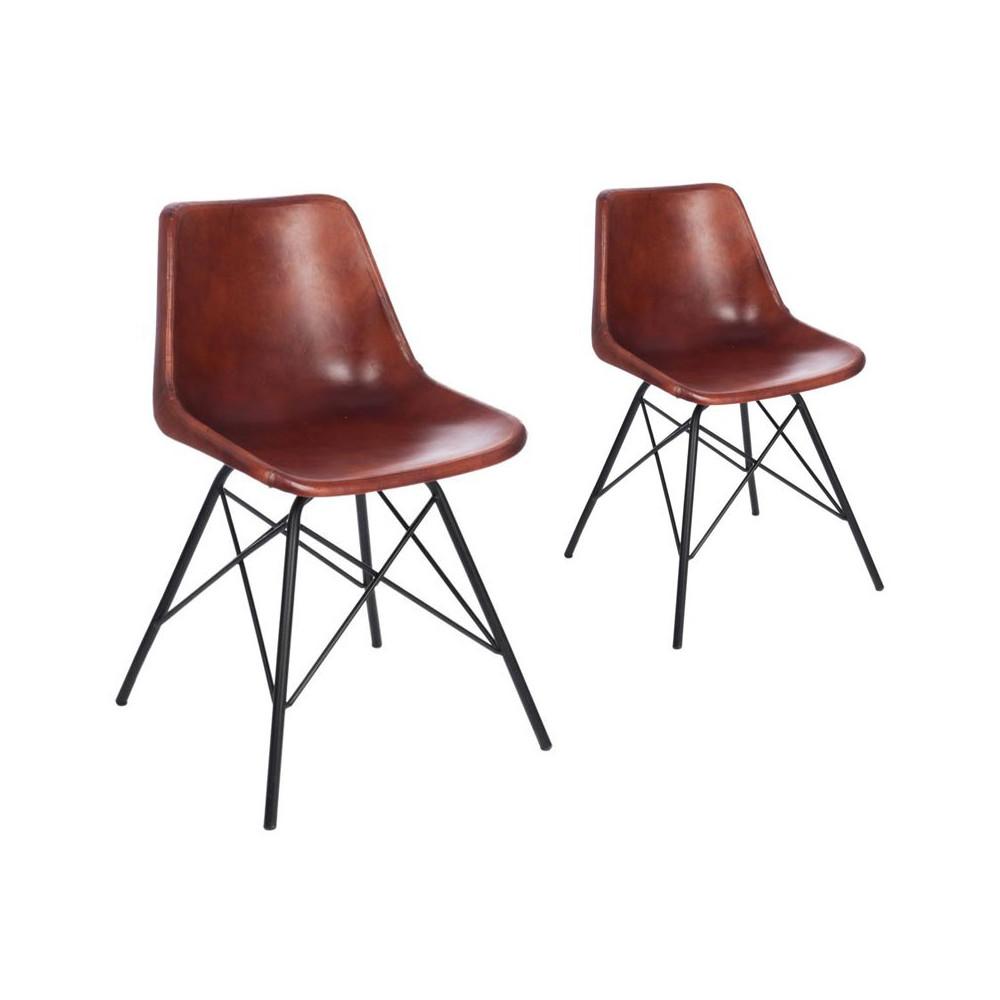 Duo de chaises Cuir Camel - RYTA