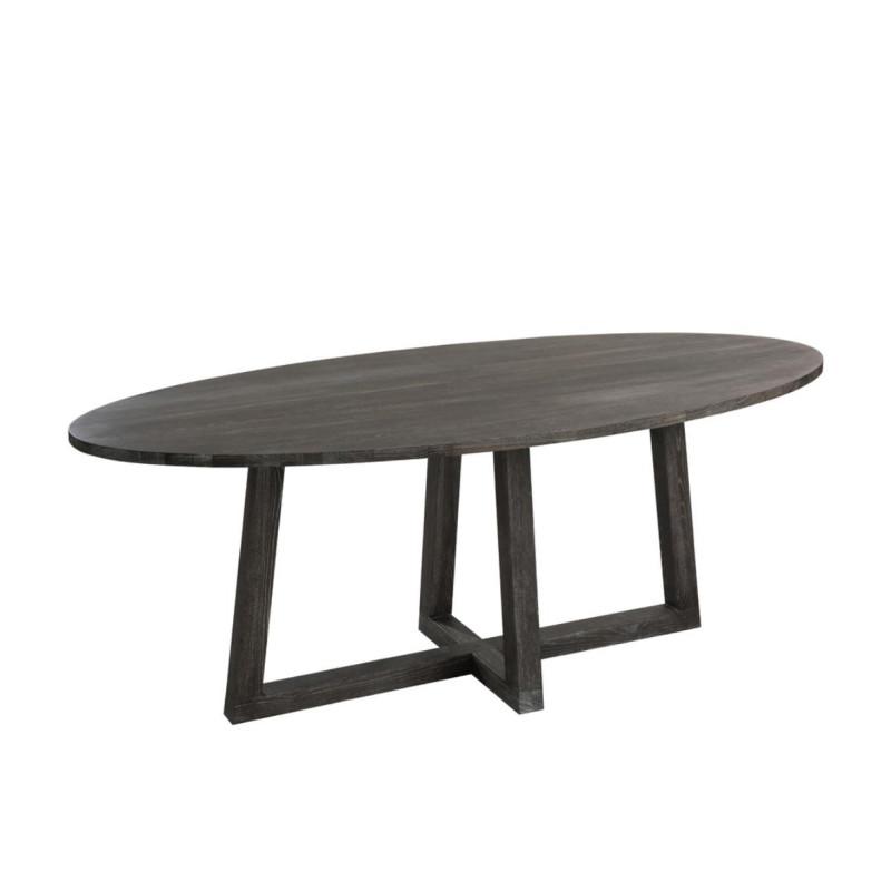 Table de repas ovale taille S Brun foncé - LENA