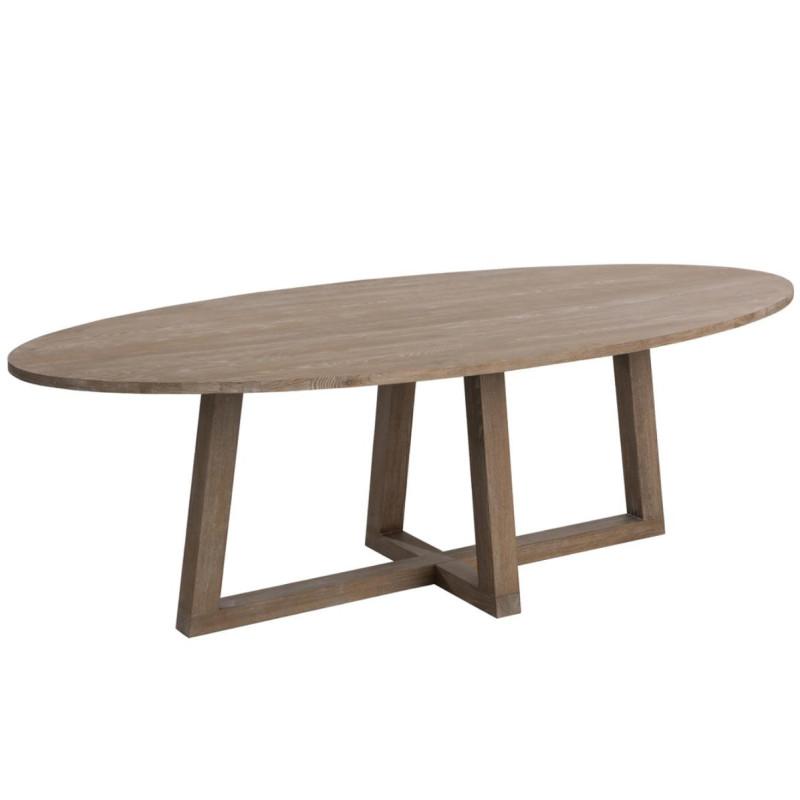 Table de repas ovale taille L Brun clair - LENA