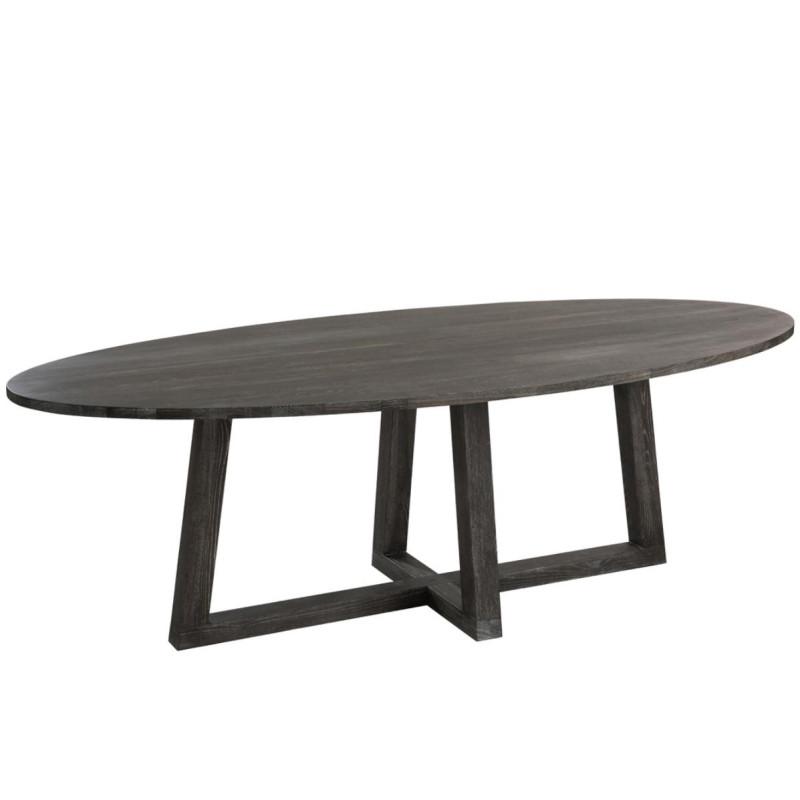 Table de repas ovale taille L Brun foncé - LENA