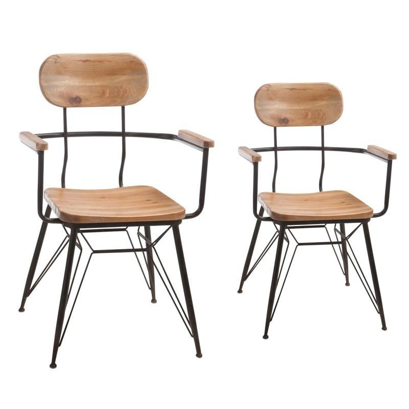 Duo de fauteuils Bois/Métal - VENUS