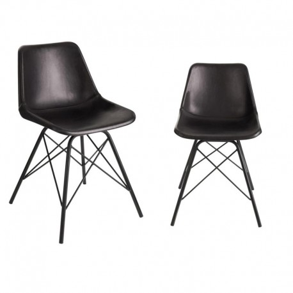 Duo de chaises Cuir Noir - URANUS