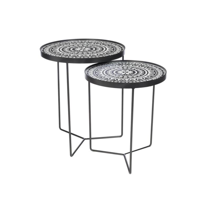 Tables gigognes Métal Noir/Blanc - XAN