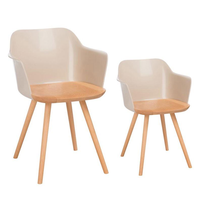 Duo de chaises rétro Taupe clair - RAMIZ