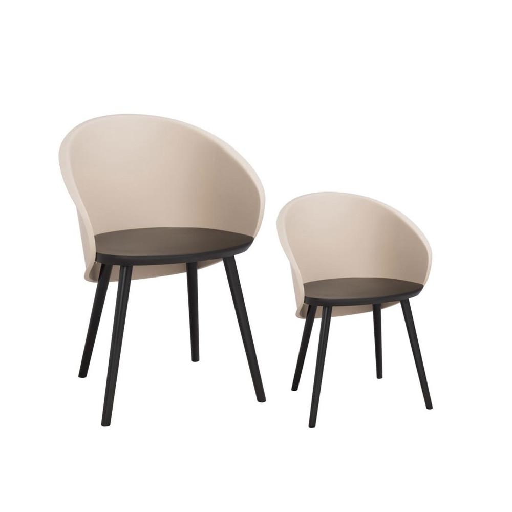 Duo de chaises Noir/Taupe clair - SELENA