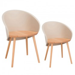 Duo de chaises Taupe clair - SELENA