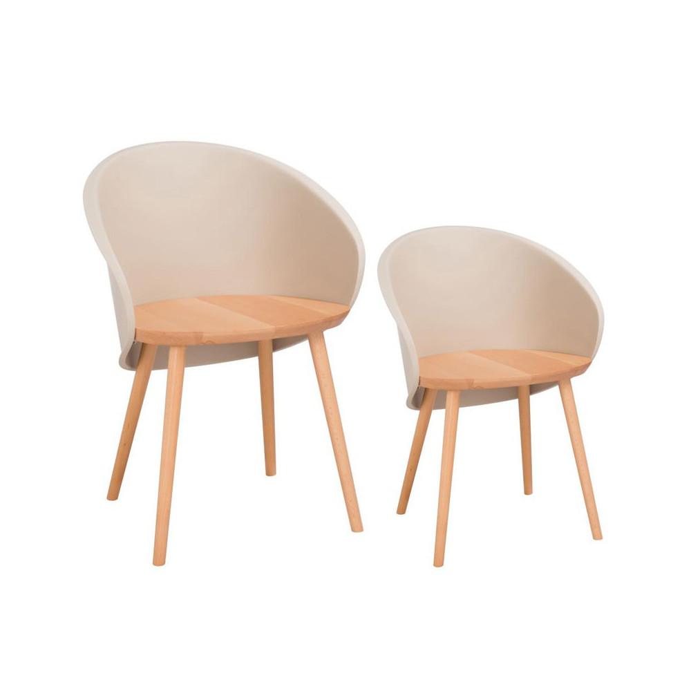 Duo de chaises Taupe clair - SELENA