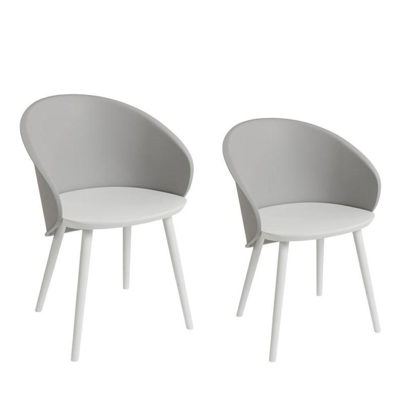 Duo de chaises Gris/Blanc- SELENA