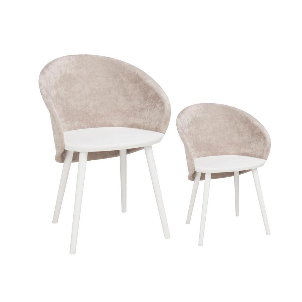 Duo de chaises Tissu Beige - SELENA