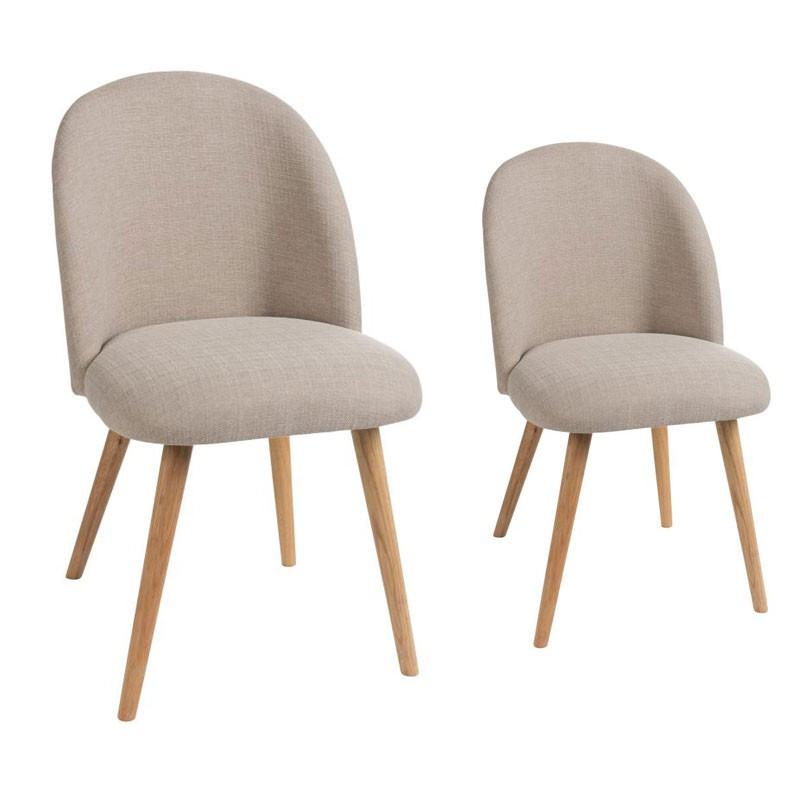 Duo de chaises Tissu Beige - LILA