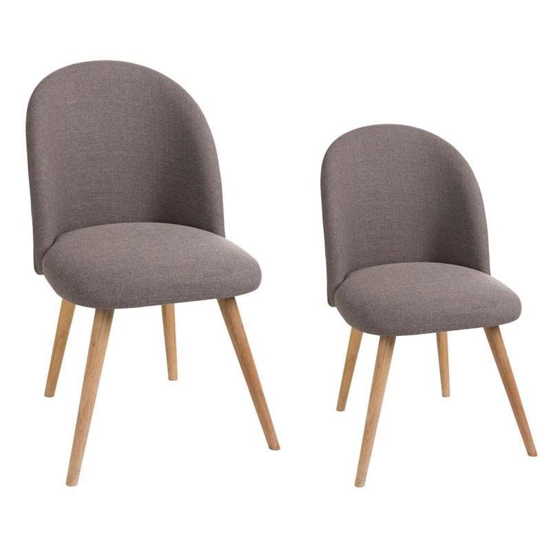 Duo de chaises Tissu Gris - LILA
