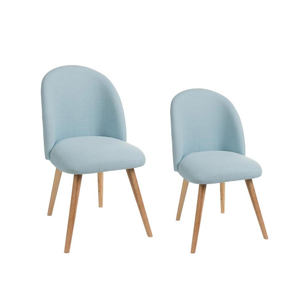 Duo de chaises Tissu Bleu ciel - LILA