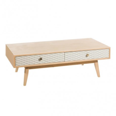 Table basse 2 tiroirs scandinave bois clair laque grise - Univers Salon : Tousmesmeubles