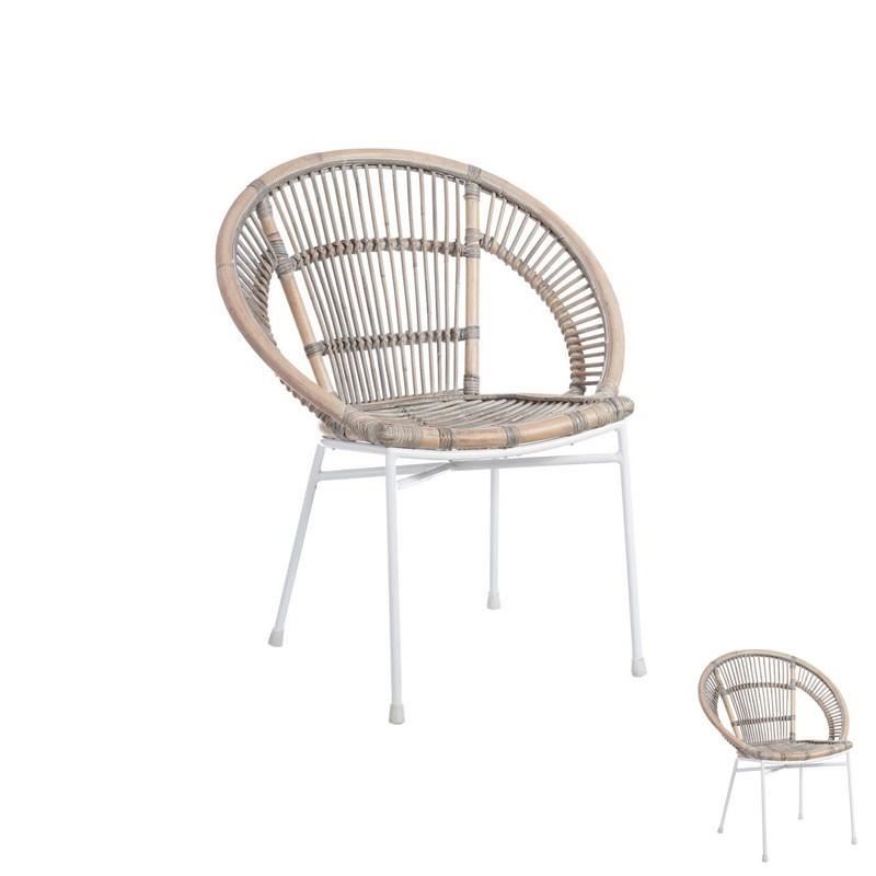 Duo de chaises jardin Métal blanc Rotin naturel moderne - Univers Jardin et Assises : Tousmesmeubles