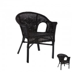 Duo de Chaises Bridge Rotin Noir - TANAR