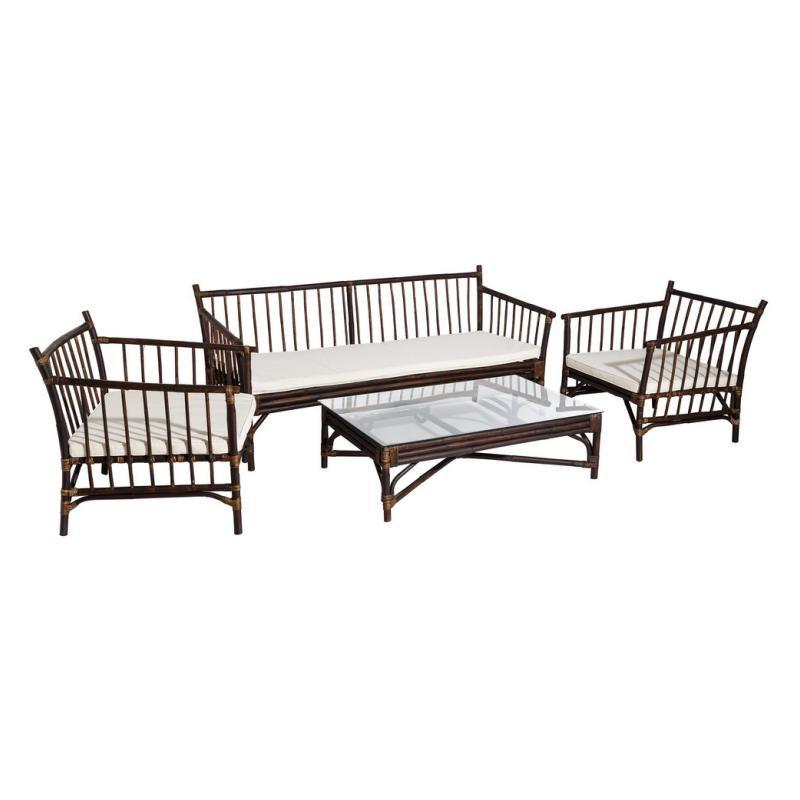 Salon de Jardin Rotin table basse verre canapé fauteuils - Univers Jardin : Tousmesmeubles