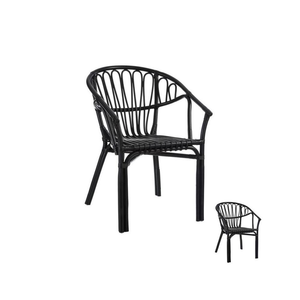 Duo de Chaises Rotin Noir jardin - Univers Assises et Jardin : Tousmesmeubles