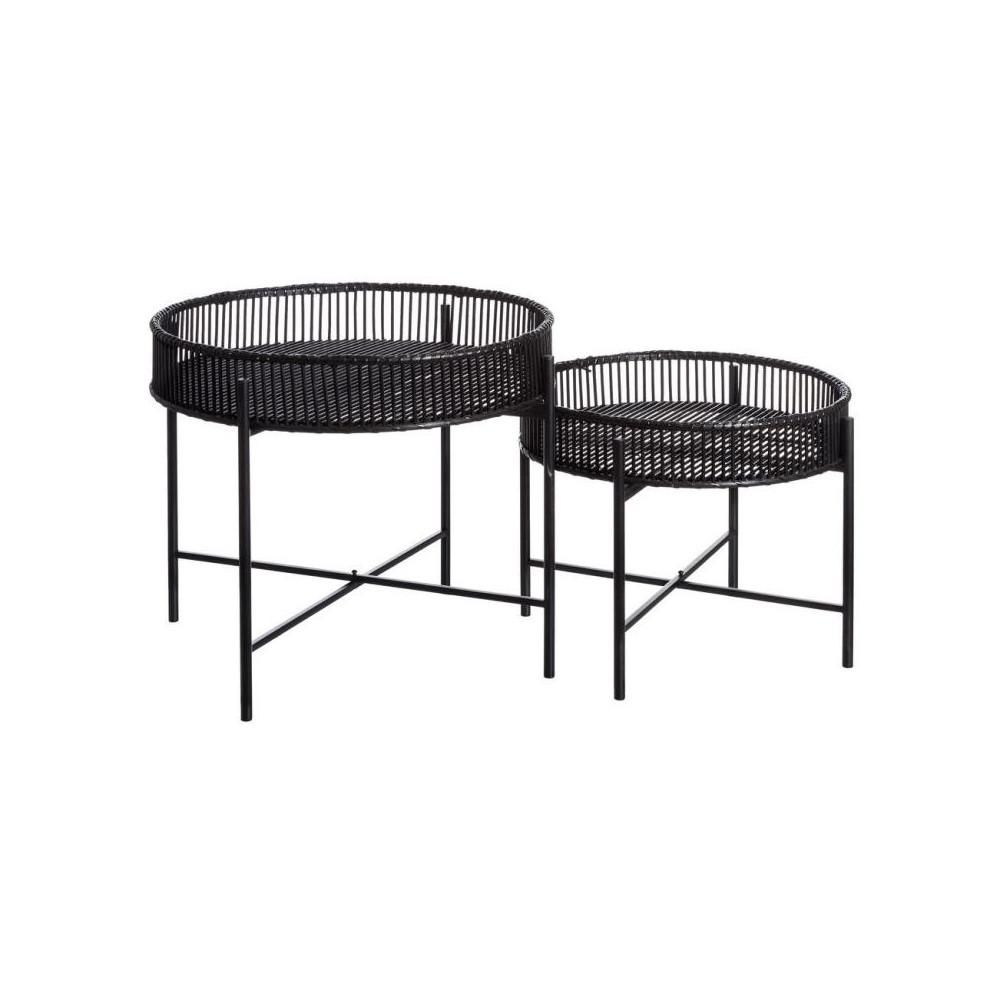 Duo de Tables d'appoint Rotin noir jardin - Univers Jardin : Tousmesmeubles