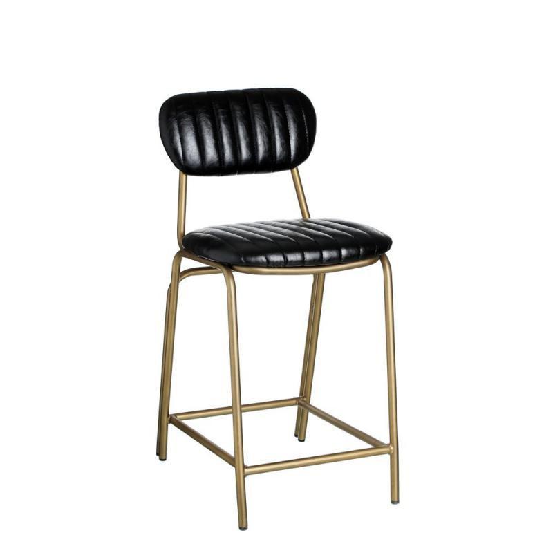 Chaise de bar vintage simili cuir noir pieds métal - Univers Assises et salon : Tousmesmeubles