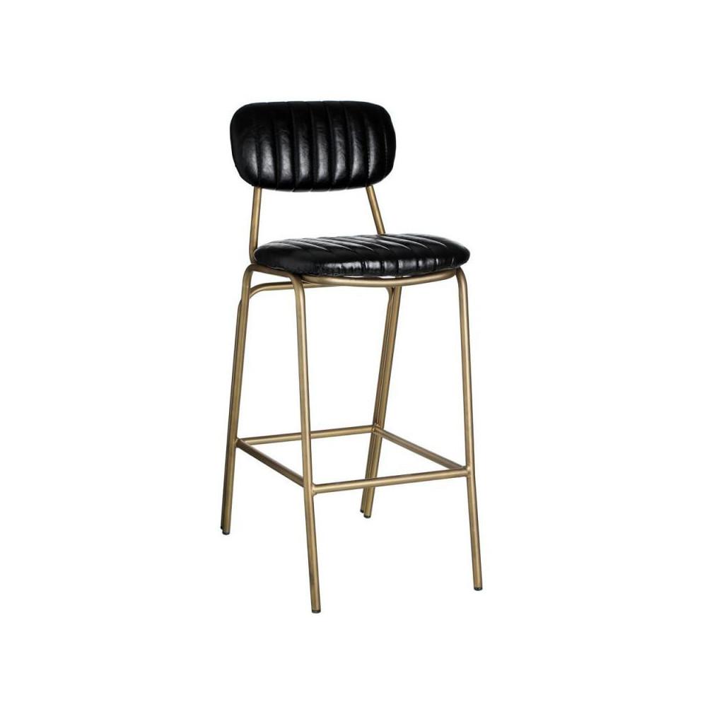 Chaise de bar simili cuir noir basse nora univers du salon for Chaise de bar cuir