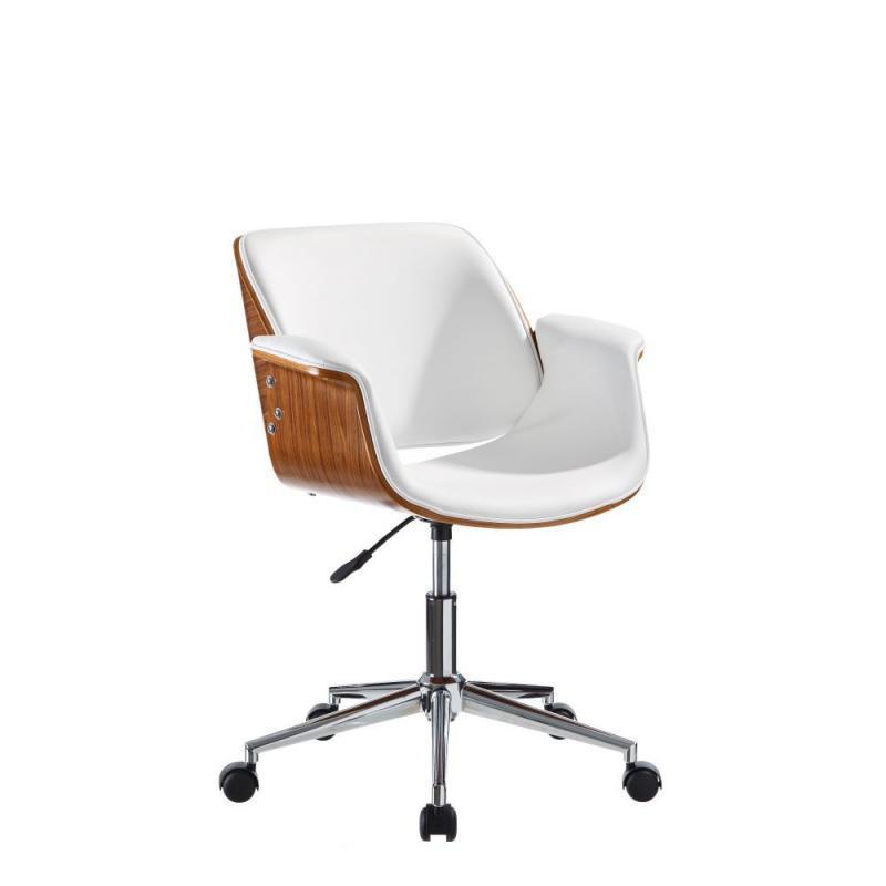Chaise De Bureau Simili Cuir Blanc