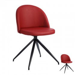 Duo de Chaises Simili Cuir Rouge - TOURNY